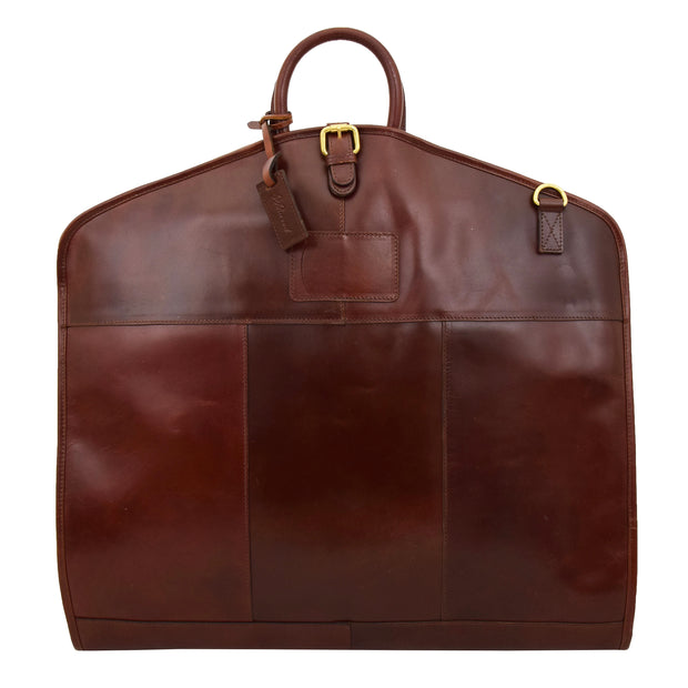 Luxury Leather Suit Carrier Bag Dress Garment Cover Finley Brandy Front