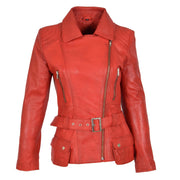 Womens Biker Leather Jacket Slim Fit Cut Hip Length Coat Coco Red Front 3