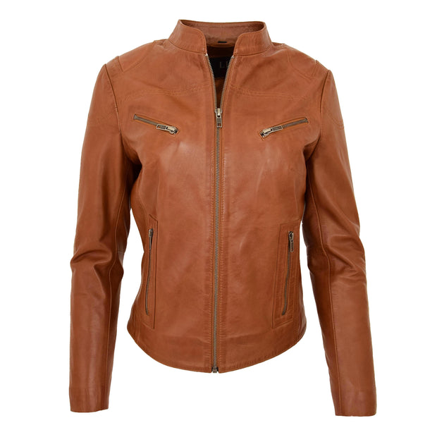 Womens Fitted Leather Biker Jacket Casual Zip Up Coat Jenny Tan Front