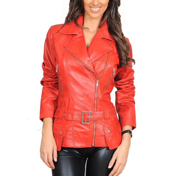 Womens Fitted Mid Length Biker Leather Jacket Hannah Red