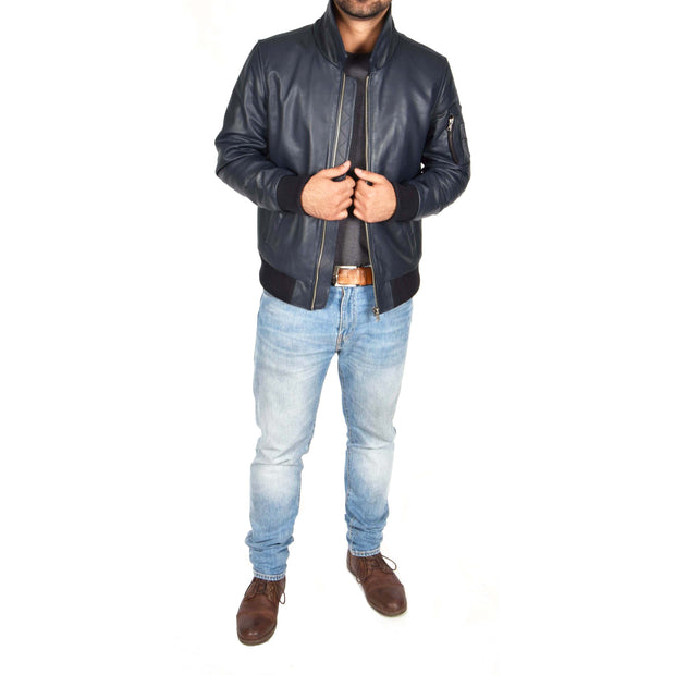 Mens Real Cowhide Bomber Leather Pilot Jacket Lance Navy Full