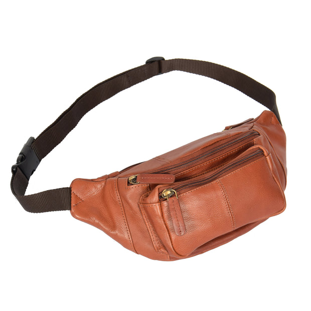Real Leather Bum Bag Money Mobile Belt Waist Pack Travel Pouch A072 Brown