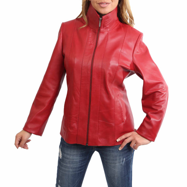 Womens Classic Fitted Biker Real Leather Jacket Nicole Red Front