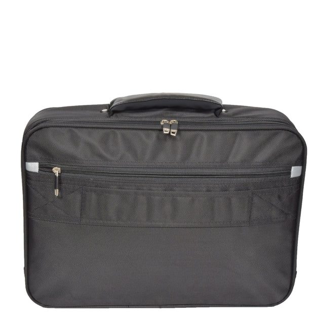 Laptop Messenger Briefcase Work Business Organiser Black Shoulder Satchel A302 Back