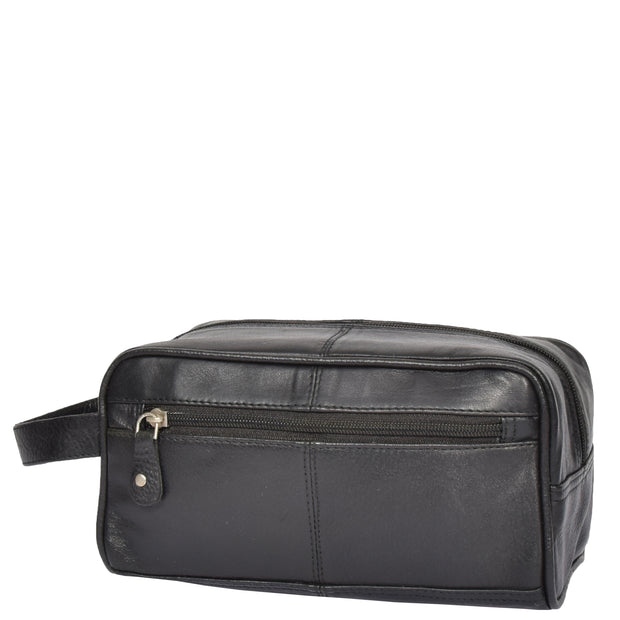 Real Leather Black Wash Bag Toiletry Shaving Cosmetic Pouch Carter
