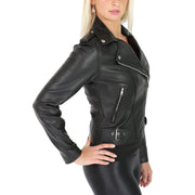 Womens Biker Leather Jacket Stylish Short Slim Fit Girls Coat Moira Black Side