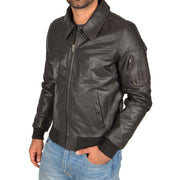 Mens Real Cowhide Bomber Leather Pilot Jacket Lance Brown