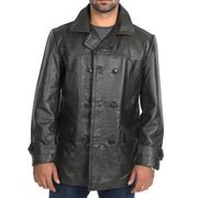 Mens Trench Leather Fitted Reefer Military Overcoat Ernest Brown Stand Collar