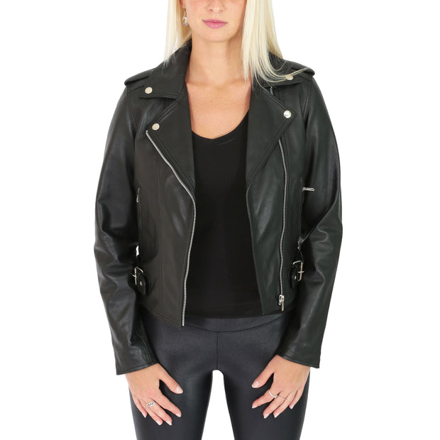 Womens Biker Leather Jacket Stylish Short Slim Fit Girls Coat Moira Black Open