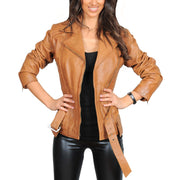 Womens Fitted Mid Length Biker Leather Jacket Hannah Tan Open