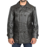 Mens Trench Leather Fitted Reefer Military Overcoat Ernest Brown Front
