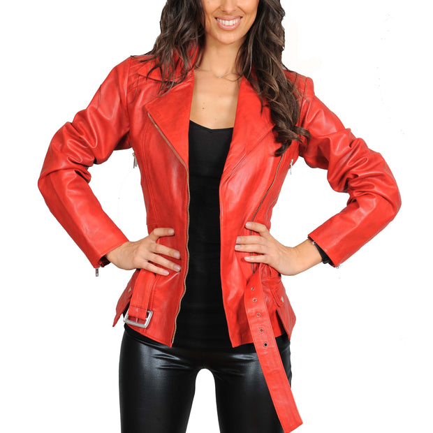 Womens Fitted Mid Length Biker Leather Jacket Hannah Red Open