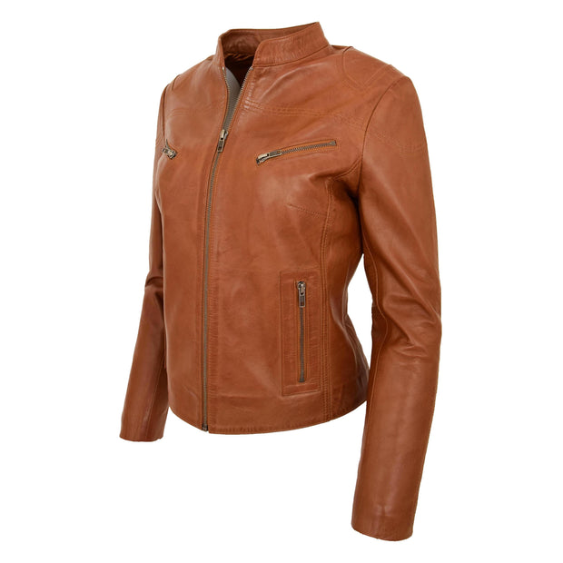 Womens Fitted Leather Biker Jacket Casual Zip Up Coat Jenny Tan Front Angle 2