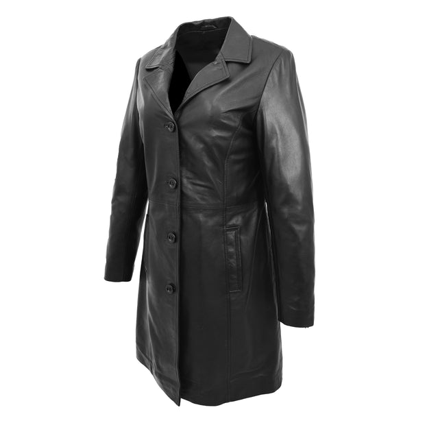 Ladies 3/4 Long Classic Fitted Soft Leather Knee Length Coat Laura Black Front Angle 2