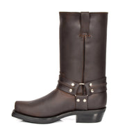 Real Leather Square Toe Cowboy Biker Boots AR69 Brown Side 2