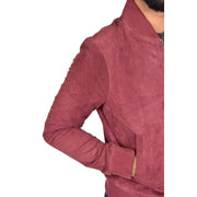 Mens Soft Goat Suede Bomber Varsity Baseball Jacket Blur Burgundy Feature