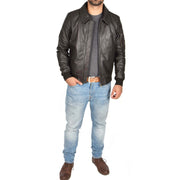Mens Real Cowhide Bomber Leather Pilot Jacket Lance Brown Full