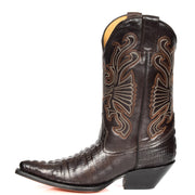 Real Leather Pointed Toe Croc Print Cowboy Boots AC229 Brown Side 2