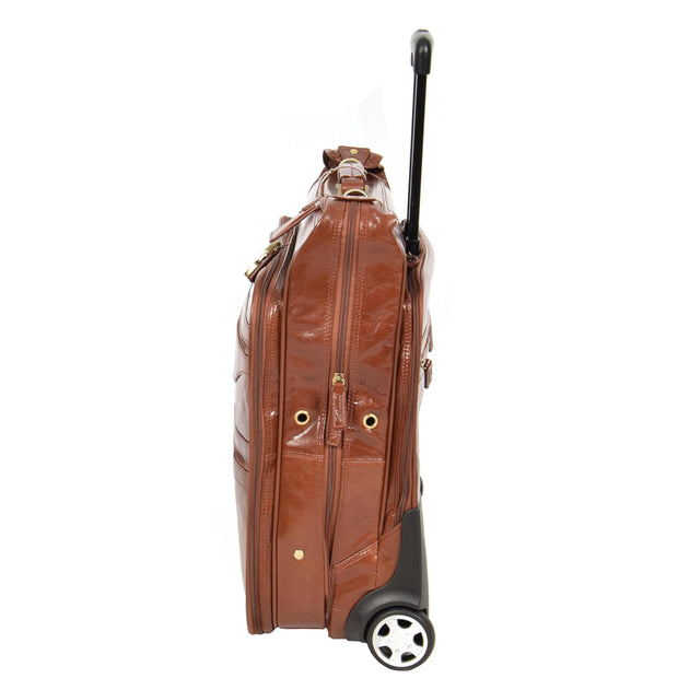Genuine Leather Garment Dress Suit Carrier A1236 Chestnut Side