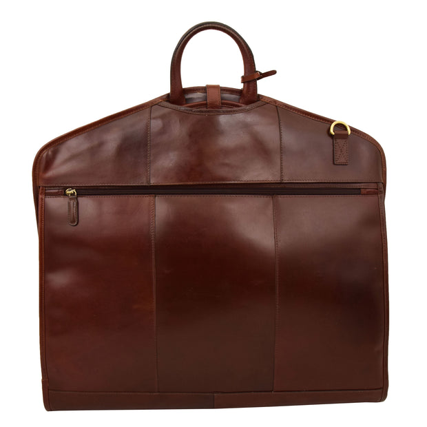 Luxury Leather Suit Carrier Bag Dress Garment Cover Finley Brandy Back