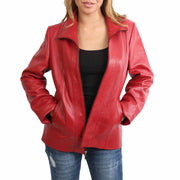 Womens Classic Fitted Biker Real Leather Jacket Nicole Red Open