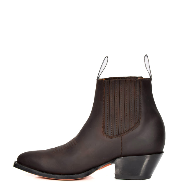 Real Leather Pointed Toe Chelsea Ankle Boots AMA79 Brown Side 2