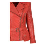 Womens Biker Leather Jacket Slim Fit Cut Hip Length Coat Coco Red Feature