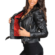 Ladies Studded Cropped Fitted Biker Leather Jacket Diane Black Lining