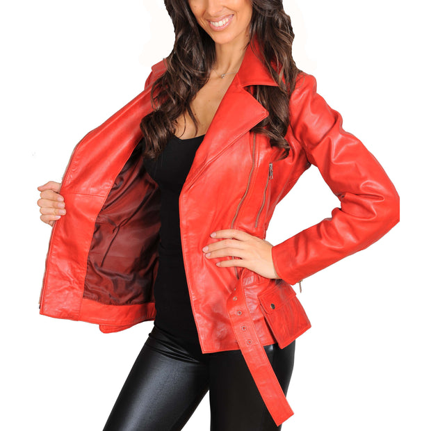 Womens Fitted Mid Length Biker Leather Jacket Hannah Red Lining