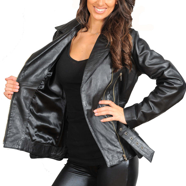 Womens Fitted Mid Length Biker Leather Jacket Hannah Black Lining