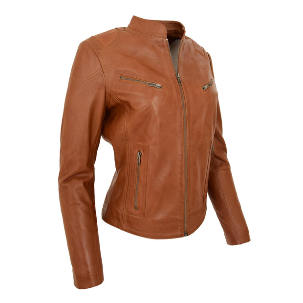 Womens Fitted Leather Biker Jacket Casual Zip Up Coat Jenny Tan Front Angle 1