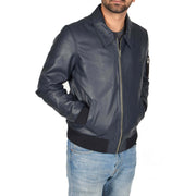 Mens Real Cowhide Bomber Leather Pilot Jacket Lance Navy Front