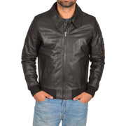 Mens Real Cowhide Bomber Leather Pilot Jacket Lance Brown Front
