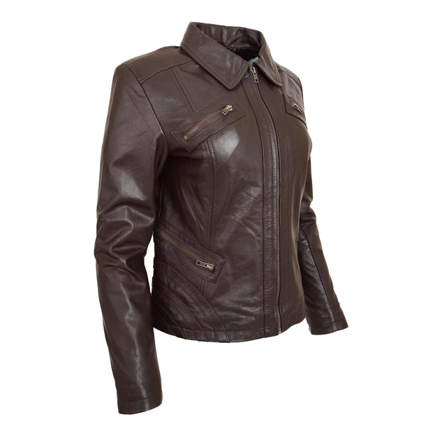 Ladies Soft Leather Jacket Fitted Collared Zip Fasten Biker Style Leah Brown Front Angle 2