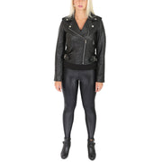 Womens Biker Leather Jacket Stylish Short Slim Fit Girls Coat Moira Black Full 2