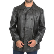 Mens Trench Leather Fitted Reefer Military Overcoat Ernest Brown Open