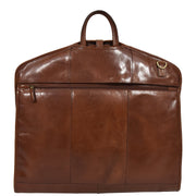 Luxury Leather Suit Carrier Bag Dress Garment Cover Finley Chestnut Back