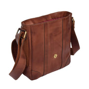Real Leather Two Tone Designer Cross Body Vintage Tan Flight Bag  Oia Open