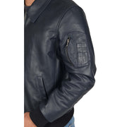 Mens Real Cowhide Bomber Leather Pilot Jacket Lance Navy Feature