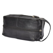 Real Leather Black Wash Bag Toiletry Shaving Cosmetic Pouch Carter Letdown