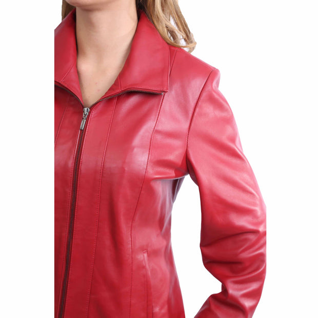 Womens Classic Fitted Biker Real Leather Jacket Nicole Red Feature 2