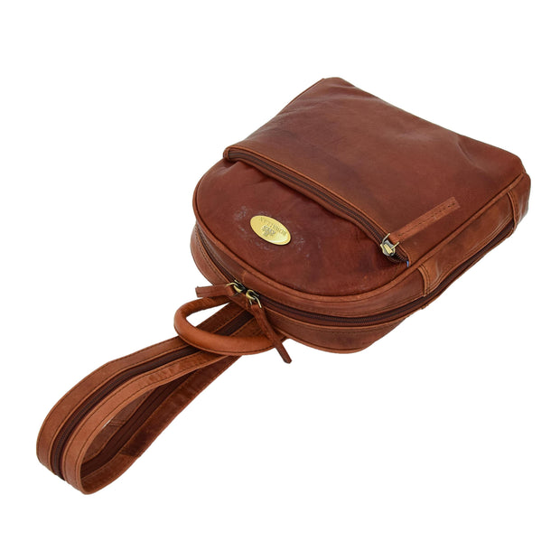 Womens Backpack Cognac LEATHER Rucksack Organiser Bag Harper Letdown