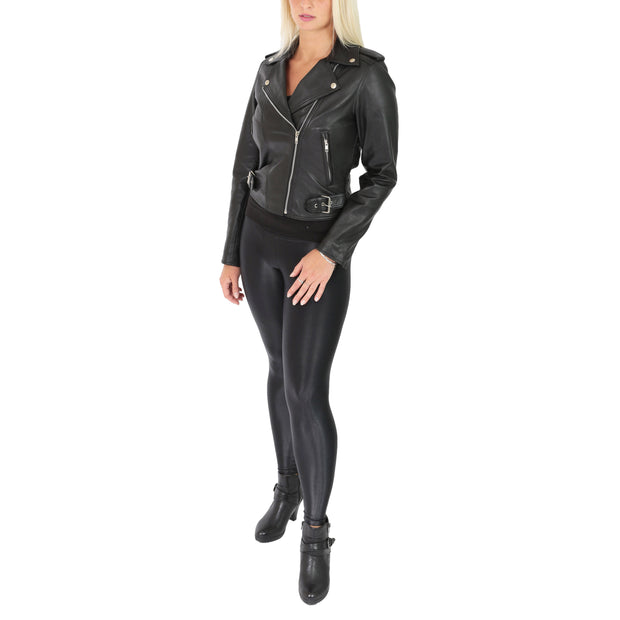 Womens Biker Leather Jacket Stylish Short Slim Fit Girls Coat Moira Black Full 1