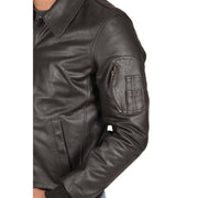 Mens Real Cowhide Bomber Leather Pilot Jacket Lance Brown Feature