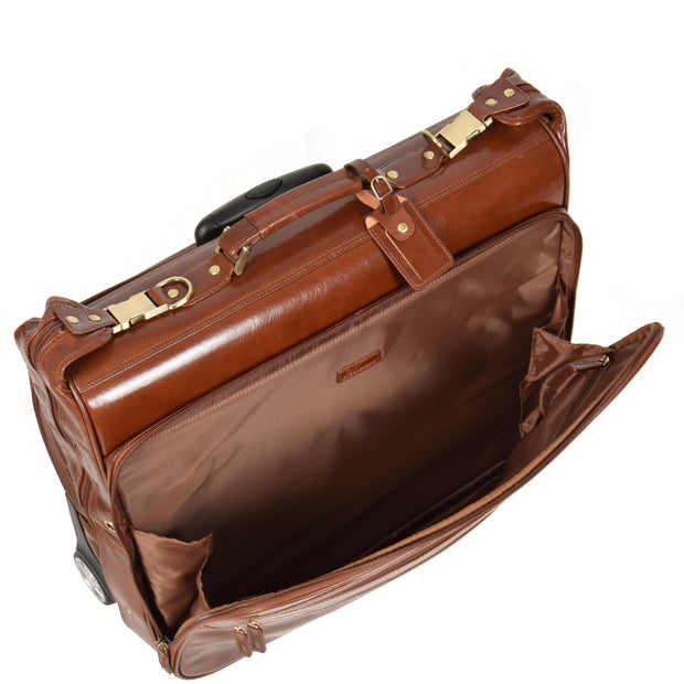 Genuine Leather Garment Dress Suit Carrier A1236 Chestnut Front Open