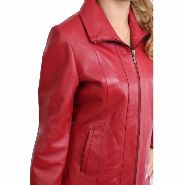 Womens Classic Fitted Biker Real Leather Jacket Nicole Red Feature 1