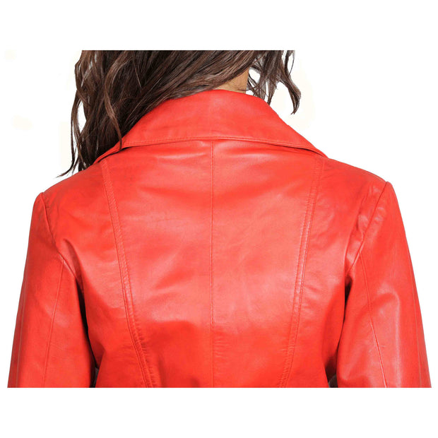 Womens Fitted Mid Length Biker Leather Jacket Hannah Red Feature 3
