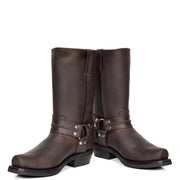 Real Leather Square Toe Cowboy Biker Boots AR69 Brown Pair 1