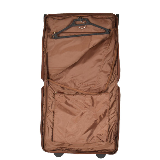 Genuine Leather Garment Dress Suit Carrier A1236 Chestnut Open