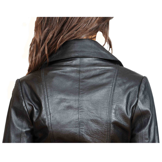 Womens Fitted Mid Length Biker Leather Jacket Hannah Black Feature 3